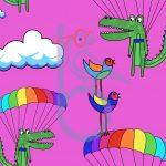 Parachuting Crocs Pink